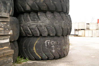 A pile of old wheels
