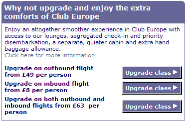 BA upgrades bug - Amusing screenshot from the BA booking process