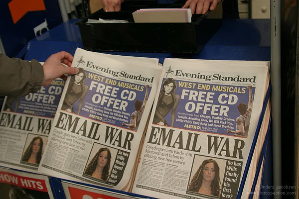 EMAIL WAR - Google goes into battle with Microsoft and Yahoo by offering new free service