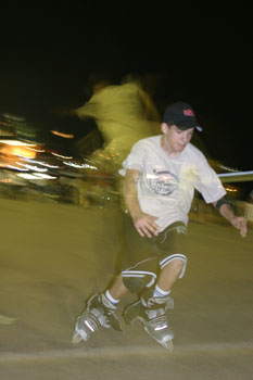 A rollerblader at the Promenade des Anglais