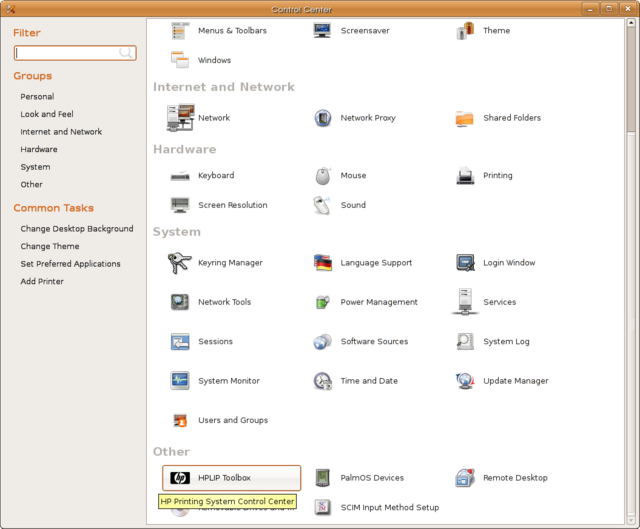 Ubuntu 7.04 Control Centre (click to zoom)